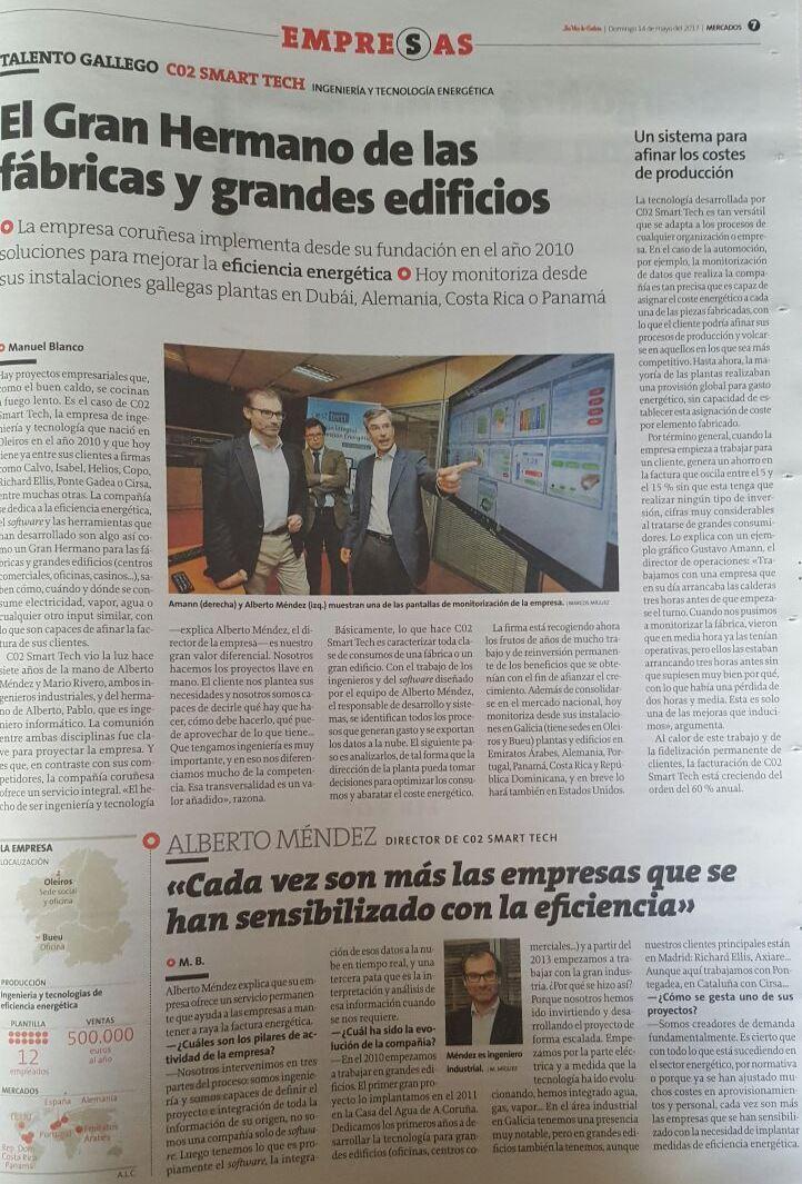 """Artículo sobre CO2 Smart Tech publicado en el especial """"Mercados"""" de La Voz de Galicia."""